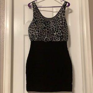 Express Black/Cheetah Dress - Size Small
